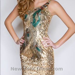 Gold Peacock Sequin Homecoming/Prom Dress